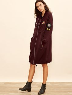 Burgundy Zip Up Bomber Coat With Embroidered Patch Detail Bomber Coat, Zip Ups, Embroidered Patch, Raincoat, Patches, Burgundy, Detail, Jackets, Inspiration