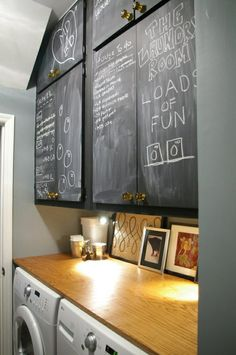 chalkboard cabinets for laundry/mud room! Would like a chalkboard wall in the laundry room Laundry Room Cabinets, Laundry Rooms, Small Laundry, Laundry Decor, Laundry Area, Wall Cabinets, Garage Cabinets, Laundry Tips, Kitchen Cupboards