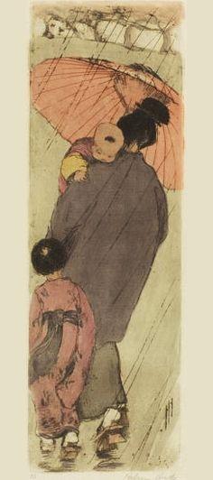 "Etcher and Engraver Artist Helen Hyde (American: 1868 - - ""The Red Umbrella"", 1918 Illustrations, Illustration Art, Tattoo Oriental, Art Chinois, Art Asiatique, Umbrella Art, Art Japonais, Japanese Prints, Japanese Style"