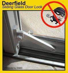 Deerfield Sliding Glass Door Deadbolt Lock (w/ Wood Door Attachment) - WHITE Best Sliding Glass Doors, Glass Door Lock, Sliding Doors, Glass Door Coverings, Door Trims, Home Safety, Home Hardware, Door Locks, Patio Doors