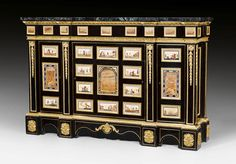 PIETRA DURA AND PIETRA PAESINA, Louis XIV style, the plaques partly from 17th 18th century, the sideboard cabinet from a master workshop, Paris circa 1840 1870.jpg