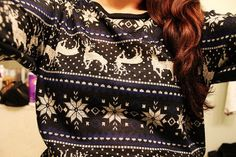 Reindeer Knit Christmas Jumpers For Women - Black Reindeer Knit Patterns Christmas Jumpers
