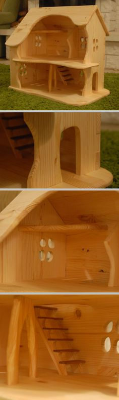 Waldorf & Montessori wooden dollhouse Wooden Dollhouse, Wooden Toys, Montessori, Projects, Wooden Toy Plans, Log Projects, Wood Toys, Blue Prints, Woodworking Toys