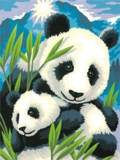 Panda & Cub - Paint By Numbers Craft Kit. A Panda and her cub amongst bamboo leaves compose a charming image you'll enjoy painting and displaying Panda Painting, Teddy Bear Cartoon, Panda Drawing, Panda Art, Paint By Number Kits, Panda Love, Spring Painting, Asian Art, Tatoo