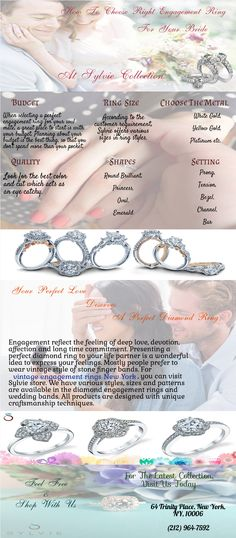 Searching for beautiful and classic look diamond ring for your soul mate? Visit Sylvie store and purchase from our thousand vintage style engagement rings in New York. Get your favourite ring from numerous collection of finger bands at your budget. Make it more memorable when you shop with Sylvie.