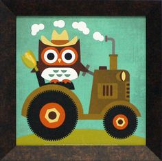 Owl on Tractor Framed Graphic Art