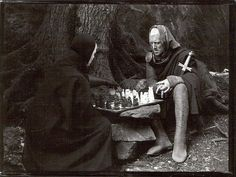 Death, chess, and Max Von Sydow. (courtesy seventh seal bergman von sydow ekerot house cinema film collection films seventh seal Ingmar Bergman Films, Bergman Movies, Max Von Sydow, Iconic Movies, Great Movies, Hollywood Actor, Classic Hollywood, The Seventh Seal, The Criterion Collection