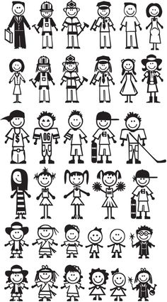 Stick people : more than words design skipper doodle art, ar Silhouette Vinyl, Silhouette Images, Silhouette Projects, Doodle Drawings, Doodle Art, Stick Family, Word Design, Stick Figures, Vinyl Crafts