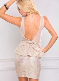 Metallic Gold Peplum Dress with Mesh & Bow Back Detail,  Dress, peplum dress  bow dress  sleeveless, Chic