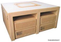 table basse en carton Hoxane - tiroirs - vue de 3/4