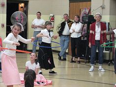 Sock Hop Party games. Hula Hop, Limbo, If your happy and you know it. Pin the tail on the poodle. Pump Rope. Hand Jive. Hopscotch.