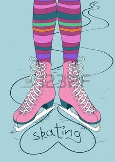 Doodle illustration with female legs in striped tights and skates photo