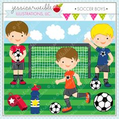 Soccer Boys clipart - set of 9 cute graphics perfect for invitations, scrapbooking, crafts, newsletters and more.