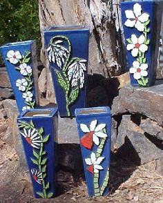 Artist In Mosaic -- beautiful functional mosaics from Australia for your home and garden, Mosaic Vase, Mosaic Flower Pots, Blue Mosaic, Mosaic Garden, Mosaic Tiles, Mosaic Crafts, Mosaic Projects, Vases, Mosaic Artwork