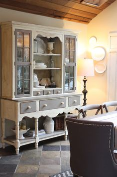 My Sweet Savannah blog . Annie Sloane Old White and French Linen paint on hutch. Love this floor too.
