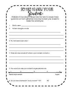 Back to school survey to send home to parents to get their feedback at the beginning of the school year! Beginning Of The School Year, Back To School, Teacher Pay Teachers, Teacher Resources, Getting To Know You, How To Get, Teacher Newsletter, Knowing You, Parents
