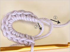 フラワーモチーフの編み方|かぎ針編み立体モチーフ 写真解説付き 【初級編】 | クロッシェアクセサリー La Seule Knitting, Crochet, Tricot, Breien, Stricken, Ganchillo, Weaving, Knits, Crocheting