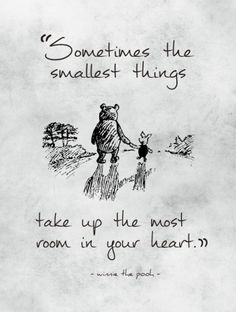 """""""Sometimes the smallest things take up the most room in your heart.""""- A.A. Milne, Winnie-the-Pooh"""