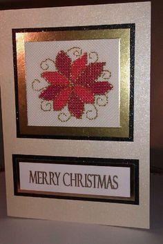 Cross stitch poinsettia card
