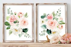Nursery Art Girl Watercolor Floral Blush Elegant Nursery Art