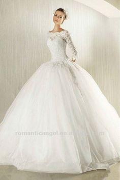 Latest Glamorous Boat Neck Long Sleeve Lace Wedding Dresses