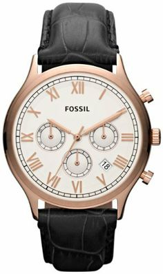Fossil Ansel Leather Watch - Black Fossil. $89.00. Dial color: white chrono dial with rose-gold tone roman numerals. Condition:brand new with tags. Band color: black embossed strap. Brand:Fossil. Model: FS4744. Save 34%!