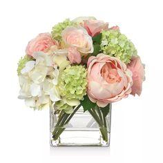 Small Flower Arrangements, Peony Arrangement, Hydrangea Arrangements, Peonies And Hydrangeas, Pink Hydrangea, Cubes, Rose Centerpieces, Peonies Centerpiece, Beautiful Flowers