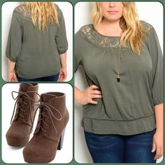 Olive Lace Top-Host Pick This perfect fall color top features lace on shoulder and back and flows freely with quarter sleeves. Made of 60% Cotton, 40% Rayon, 10% Viscose. (This closet does not trade or use PayPal.) Fashion Out Tops Blouses