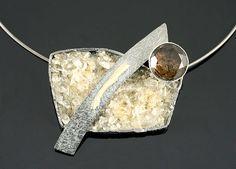 Pendant by Elaine Cox  Oxidised Silver, 18ct Gold, Citrines & Smoky Quartz