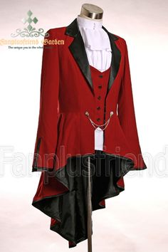 Elegant Gothic Aristocrat Irremovable Vest Ball Wavy Tuxedo Jacket*4colors Instant Shipping