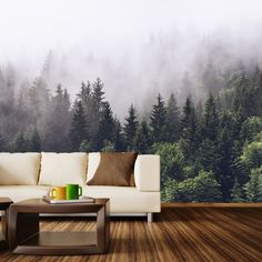 Misty Forest | Wall Mural | WallsNeedLove--I ordered this in a four panel for our hallway today. Can't wait to see it up!