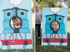 thomas the train party diy . Train Photo Booth, Train Food Containers: DIY by mom Chrissy Trujillo Thomas Birthday Parties, Thomas The Train Birthday Party, Trains Birthday Party, Train Party, Birthday Fun, Birthday Party Themes, Birthday Ideas, Third Birthday, Zug Party