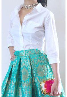 Brocade skirt and silk shirt blouse Brocade skirt and silk shirt blouse Indian Designer Outfits, Indian Outfits, Designer Dresses, Indian Designers, Stylish Dresses, Fashion Dresses, Casual Dresses, Kimono Fashion, Stretch Stiefel