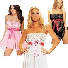 Lace Dress Nightwear Robe Lingerie Gown Underwear Babydoll Sleepwear +G-string #Nobrand #RobeGownSets