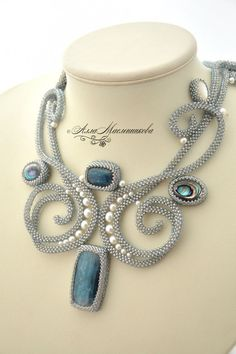 Necklace, handmade necklace.  Necklace Adiue a l'Hiver with kyanite, nacre and pearls.  Alla Maslennikov.  Online Store Fair Masters.