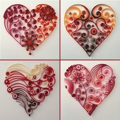Best 9 Heart Quilling – Custom Wall Hanging Individual quilled hearts mounted on cardstock. Order your favorite quilled hearts in combinations of 3 or Each heart in your combination will be mounted separately so you may configure and frame your Paper Quilling Tutorial, Paper Quilling Patterns, Quilling Paper Craft, Paper Crafts, Diy Paper, Neli Quilling, Quilled Roses, Quilling Comb, Quilling Ideas