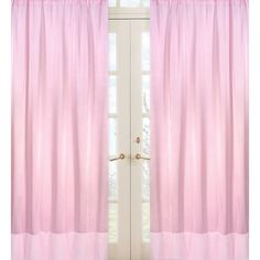Sweet Jojo Designs Pink Chenille and Satin 84-inch Window Treatment Curtain Panel Pair for Pink Chenille Collection