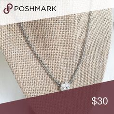 Swarovski Crystal Necklace Floorboard Findings • Swarovski Crystal • 12mm Crystal Clear• 17 inches long • antique silver • handmade • Floorboard Findings Jewelry Necklaces