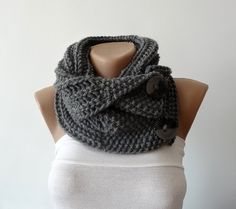 Hand Knitted Scarf Neck Warmer Button Scarf by ANINAhandmade
