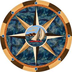 "Solid wood and cast stone inlay, The center ship design features our ""gradient shading"" technology for a beauti… Compass Art, Nautical Compass, Compass Rose, Foyer Flooring, Wood Flooring, Floors, Boat Pics, Mariners Compass, Seaside Decor"