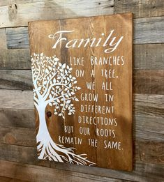A great reminder that we are all part of a family and roots run deep! Made in shabby chic style with pine wood and hand painted/stenciled (No Vinyl) for that rustic long lasting look! Measures roughly (depending on rough cut board size) 16 Wide by 22 Tall