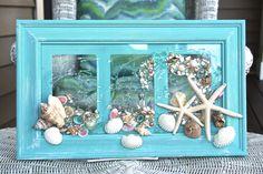 Beach Glass Art for Coastal Decor, Beach Bathroom Decor made of Seashells on Glass Art, Seashell Art for Beach House, Coastal Wall Art by on Etsy Seashell Art, Seashell Crafts, Beach Crafts, Sea Glass Crafts, Sea Glass Art, Resin Crafts, Resin Art, Coastal Wall Art, Beach Wall Art