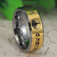"Cheap Price Free Shipping USA Canada Hot Selling 8MM The BioShock ""A man chooses,a slave obeys"" Men's Gold Tungsten Wedding Ring-in Rings from Jewelry & Accessories on Aliexpress.com 