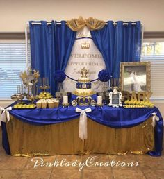 fiesta temática petit prince azul y dorado