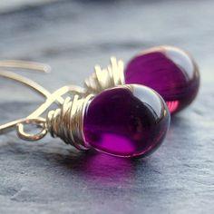 Earrings Handcrafted of Purple Amethyst Czech Glass Wire Wrapped Tear Drops on Handmade Sterling Silver Earwires