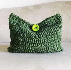 Crochet green multicolored make up bag, crochet pastel cosmetic bag, crochet mini bag, make up bag 2013