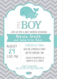 Whale Baby Shower Invitation / Baby Shower Wale by Onthegoprints