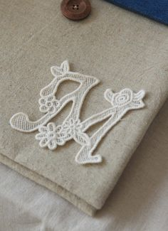 M Letter Lace Applique, Lace, Embroidery Lace, Lace Applique, Brige Lace - Large Round 8 yard