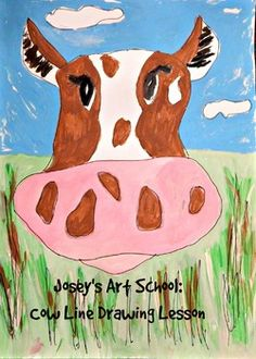 Art lessons for kids that will teach them how to draw, craft and paint. The instructions are easy and step by step 88583254735146 Art Videos For Kids, Drawing Lessons For Kids, Art For Kids, Cow Drawing, Drawing Board, Farm Lessons, Joy Art, Watercolor Art Lessons, Fun Arts And Crafts