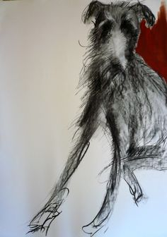 """Fine Art Greeting Card """"Alfie"""" Charcoal and Oil on Paper by Sally Muir"""